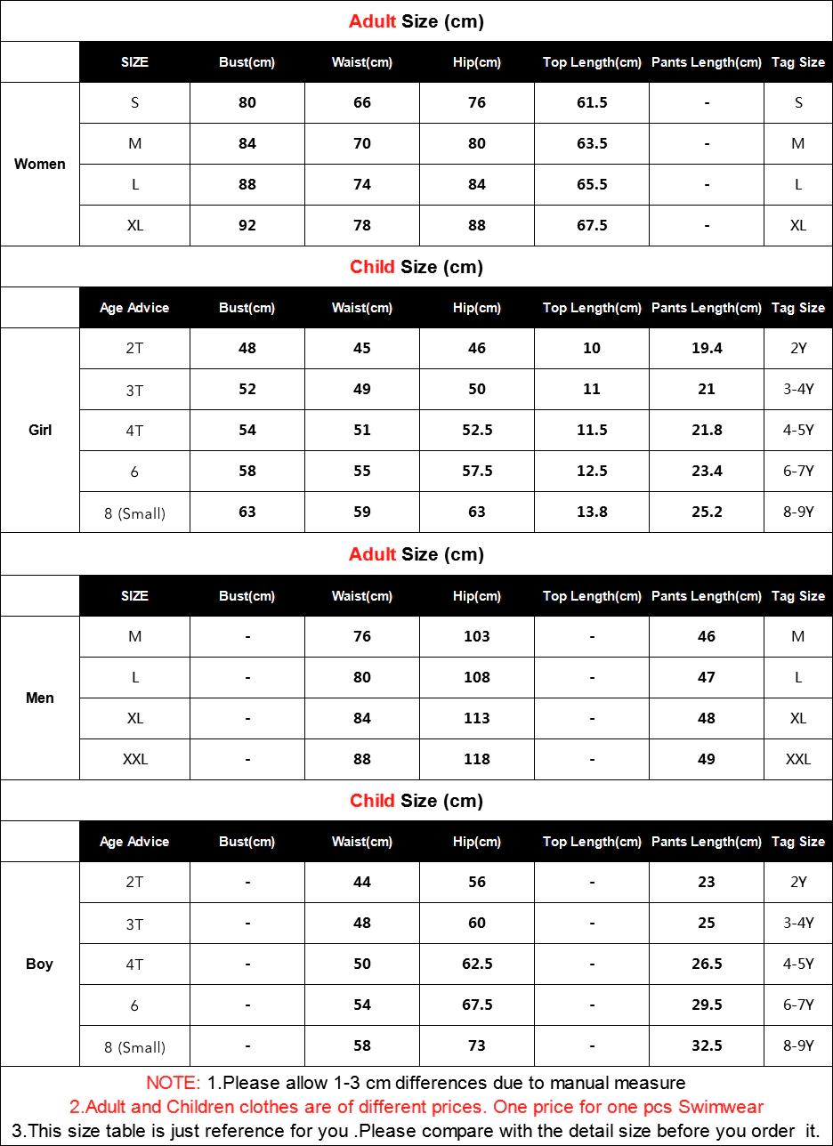 Swimsuit Sizing Chart